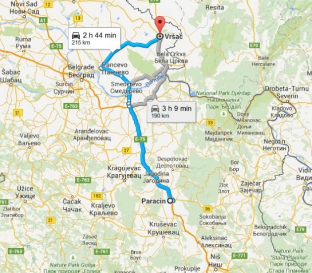 Mapa puta Paraćin-Vršac