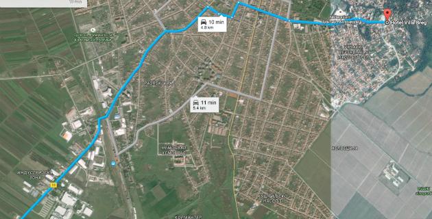 Mapa puta od ulaska u Vršac do hotela Villa Breg