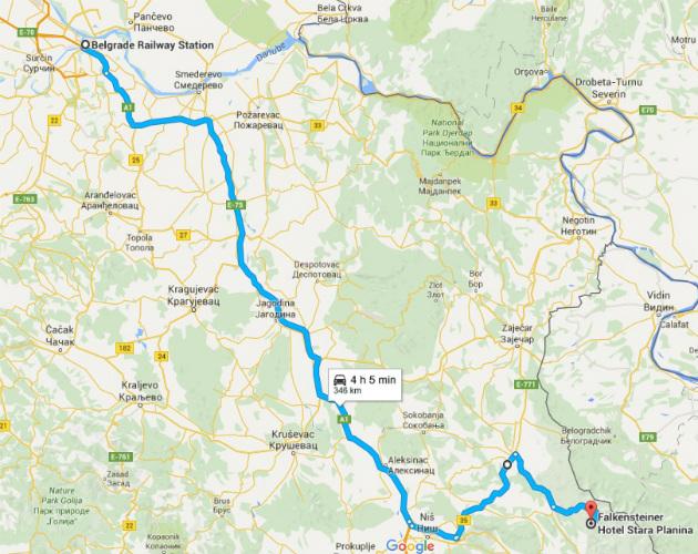 Mapa puta Beograd - Stara planina