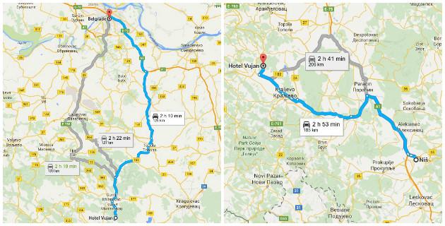 Mapa puta Atomska banja