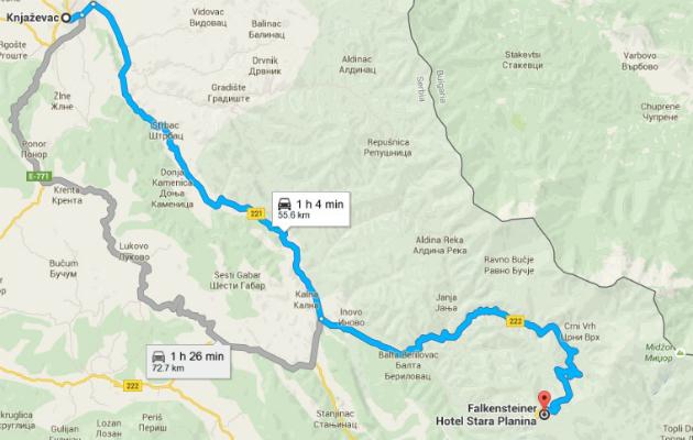 Mapa puta Knjaževac - Stara planina